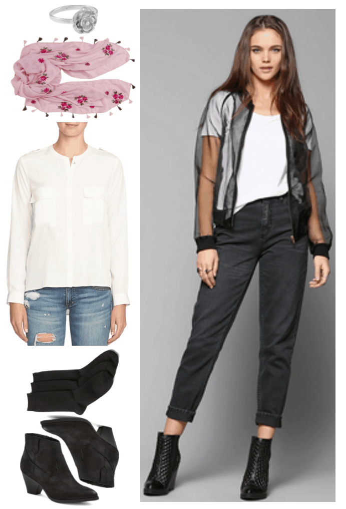 """Fashion Inspired by Music Videos: """"Please Be Mine,"""" by Molly Burch--Outfit #4 featuring sterling silver rose ring, pink embroidered floral scarf with tassels, white collarless blouse with pockets, black crew socks, black western-inspired ankle boots, black mom jeans"""