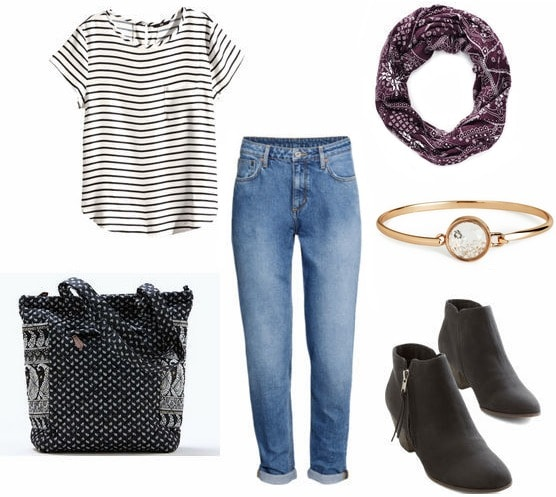 mom jeans, striped shirt, booties