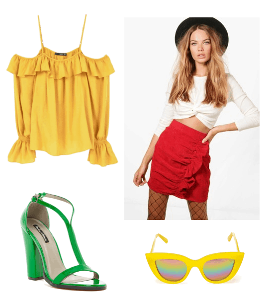 Outfit inspired by Mom from Broken Age: Yellow off the shoulder top, red ruffle button skirt, Quay yellow sunglasses and green patent leather dress sandals