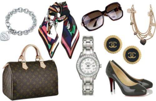Mom's designer goodies - Louis Vuitton bags, watches, Louboutins
