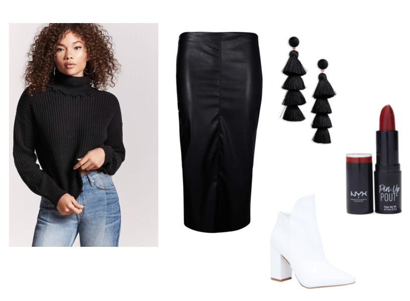 Monkey Penny Spy Fox Outfit Inspiration: Leather midi skirt, tapered, black turtleneck sweater, tassel fringe earrings, NYX Red Haute Pin and Pout Lipstick, short, white booties.