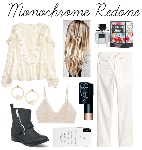 White ruffle blouse, pearl studs, moto boots, lace bralette, highlighter stick, fragrance, white jeans, phone case