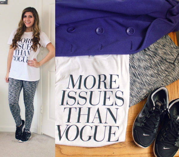 More-Isses-Than-Vogue-Tee-Gray-Striped-Leggings-Black-Nikes-Purple-Coat-Sporty