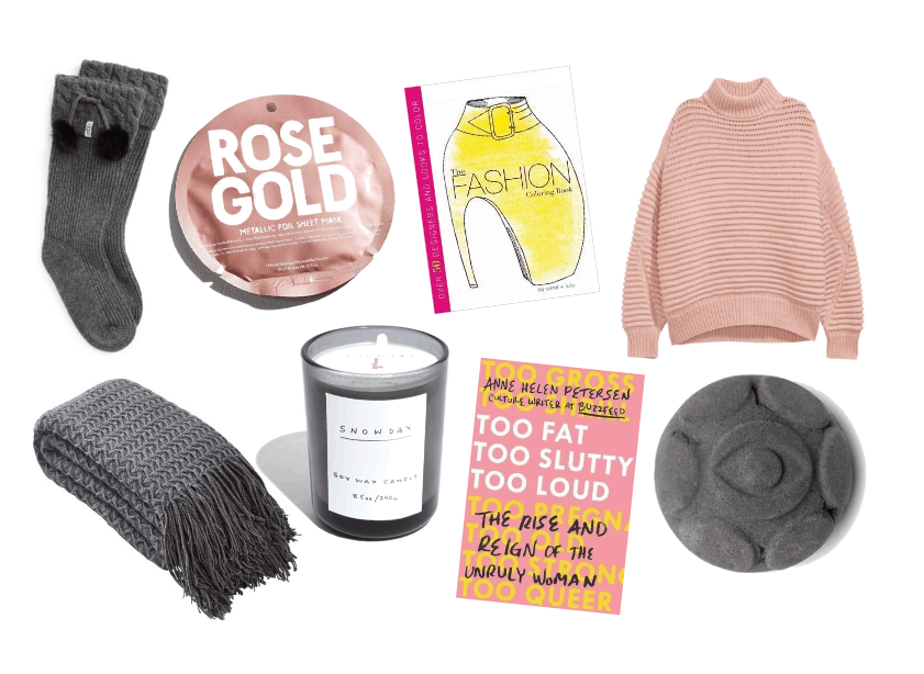 Uggs socks Urban Outfitters rose gold sheet mask Fashion coloring book H&M sweater Wayfair blanket Madewell Candle Too Fat Too Slutty Too Loud Anne Helen Petersen Lush bath bomb
