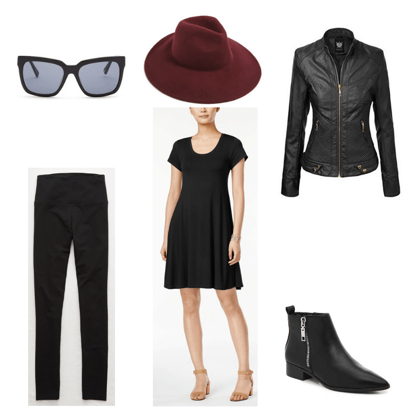 Outfit with black dress, leggings, leather jacket, booties, sunglasses, and burgundy fedora