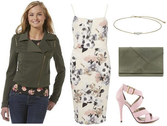 moto jacket, floral dress, heels