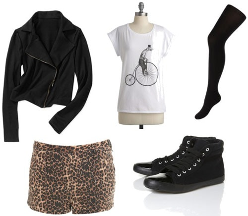 Outfit Idea: Motorcycle jacket, leopard shorts, black tights, black sneakers, graphic tee