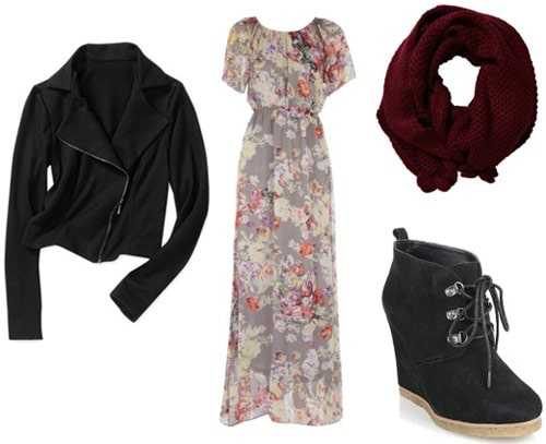 Outfit Idea: Motorcycle jacket, floral maxi dress, burgundy circle scarf, wedge ankle booties