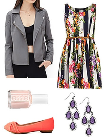 Moto jacket patterned dress outfit