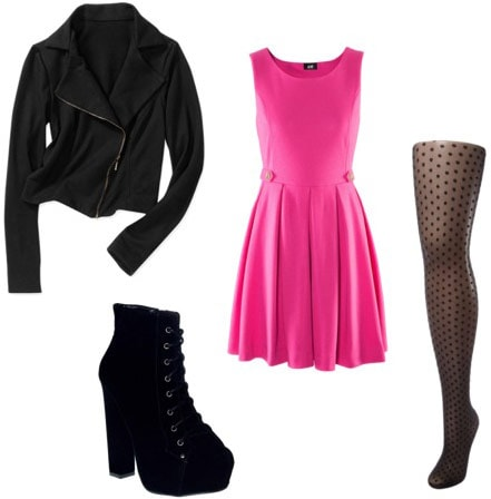 Outfit Idea: Motorcycle jacket, hot pink dress, ankle booties, patterned tights