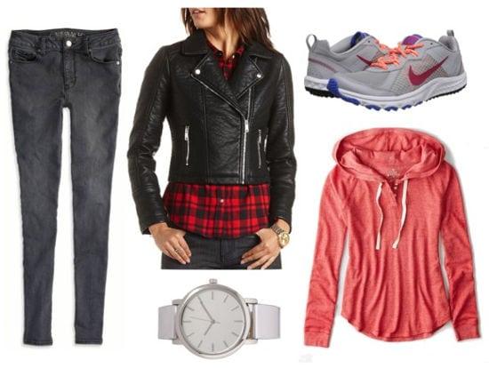 Moto jacket, pink hoodie, gray jeans