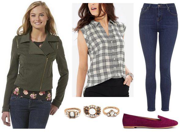 moto jacket, plaid blouse, jeans