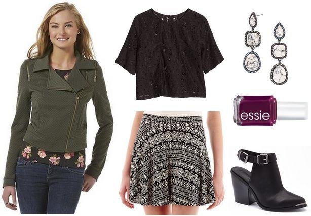moto jacket, printed skirt, lace top