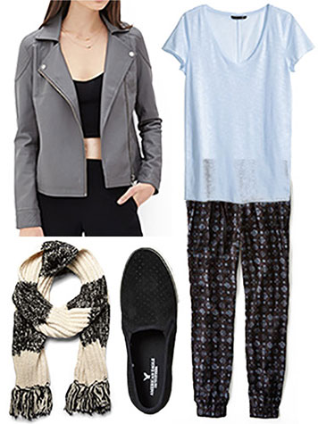 Moto jacket tee scarf outfit