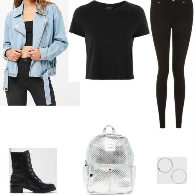Denim moto jacket with black tee, black skinny jeans, black booties, metallic silver backpack, and silver hoop earrings.