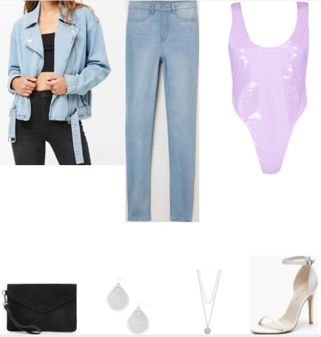 Light washed moto jacket style with lilac bodysuit, light wash jeans, black suede clutch, silver drop earrings, silver pendant necklace, and white ankle strap heels.