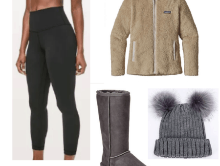 Winter vacation outfit ideas: Outfit for the mountains with active leggings, Patagonia fleece, pom pom hat, ugg boots