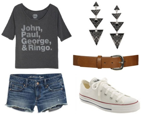 College Move-in Day Outfit 1: Denim shorts, tee, belt, sneakers
