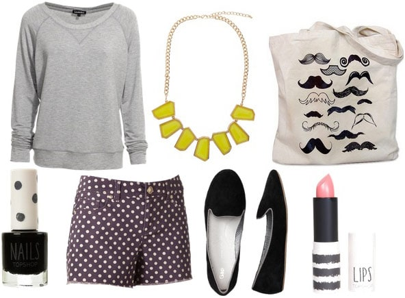 Movie theater outfit 1: Shorts, sweatshirt, comfy slippers, statement necklace, tote