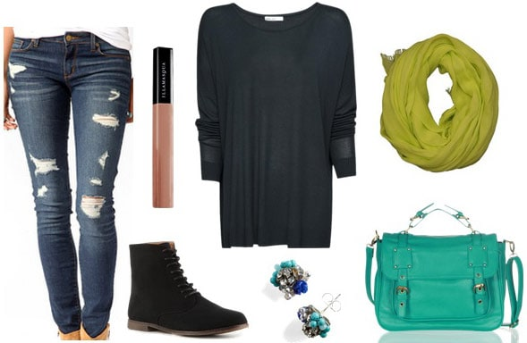 Movie theater outfit 2: Distressed jeans, long sleeve top, satchel, black sneakers
