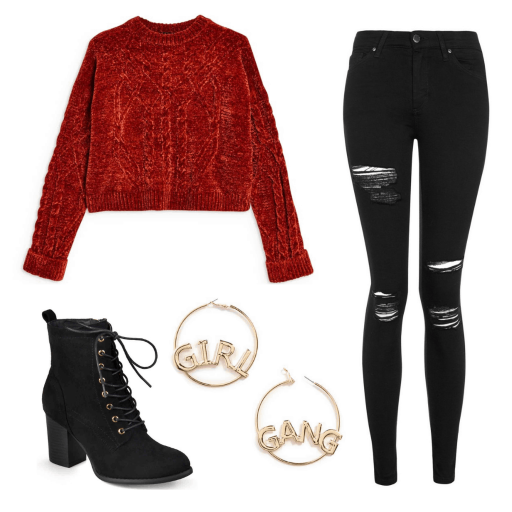 (Girls Night) Get the Look: Chenille Cable Sweater; Black Super Ripped Skinny Jeans; Girl Gang Hoop Earrings; High Heel Lace-Up Combat Boots