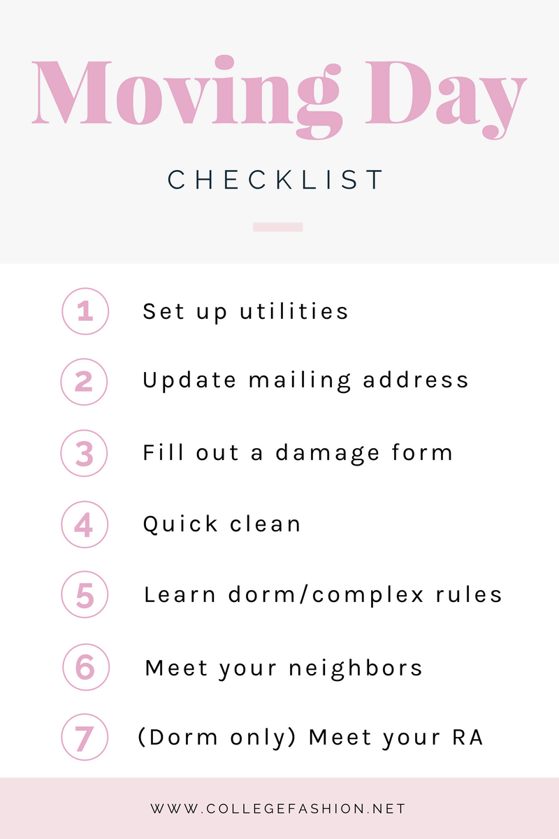 Moving day checklist for college