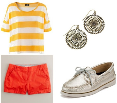 College Move-in Day Outfit 3: Bright shorts, striped tee, Sperrys