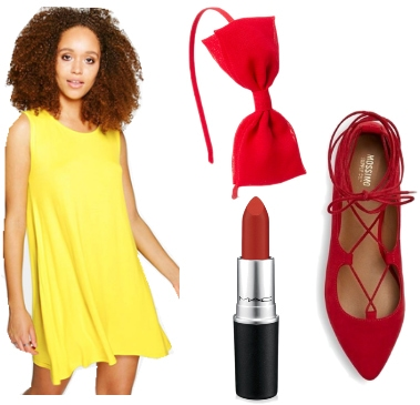 Outfit inspired by Ms. Pacman - yellow dress, hair bow, lipstick, lace-up flats