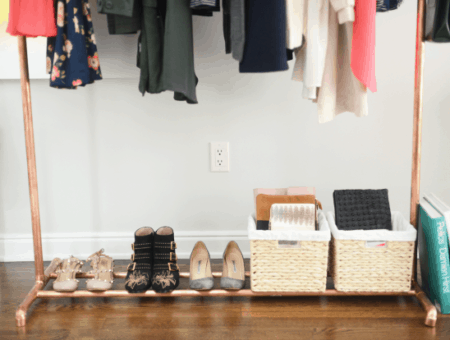 clothing rack with summer pieces