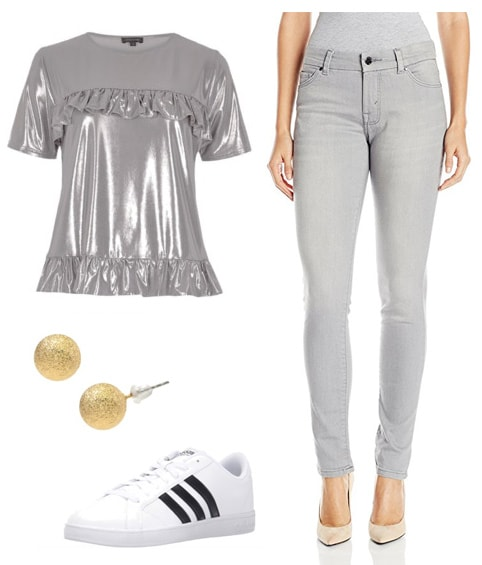 MTV VMAS-inspired outfit: Gray jeans, silver top, gold glitter stud earrings, Adidas superstar sneakers
