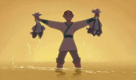 Disney's Mulan dressed as Ping holding fish