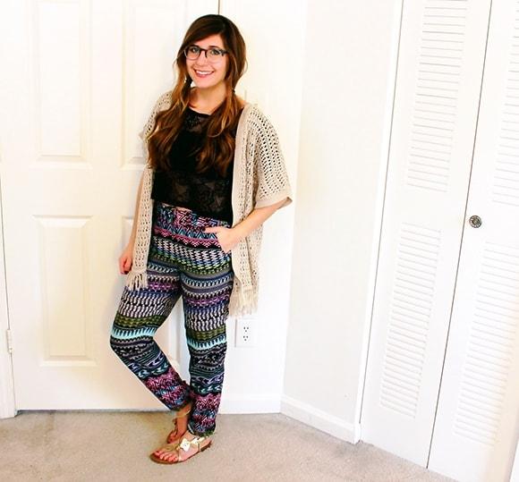 Multicolored challis pants, with crochet crop and a tan kimono
