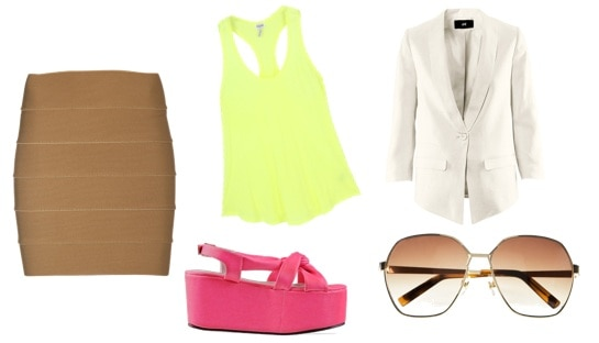 MultiColor outfit - Yellow tank, white blazer, hot pink wedges