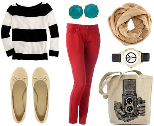 Museum outfit: Colorful jeans, striped sweater, flats, scarf, tote, watch