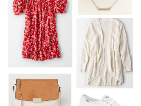 red floral off shoulder dress, brown crossbody, gold necklace, oatmeal cardigan, white Keds