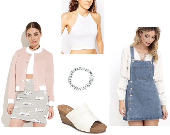 Pretty spring outfit: Pink jacket, white crop top, overall dress, slides