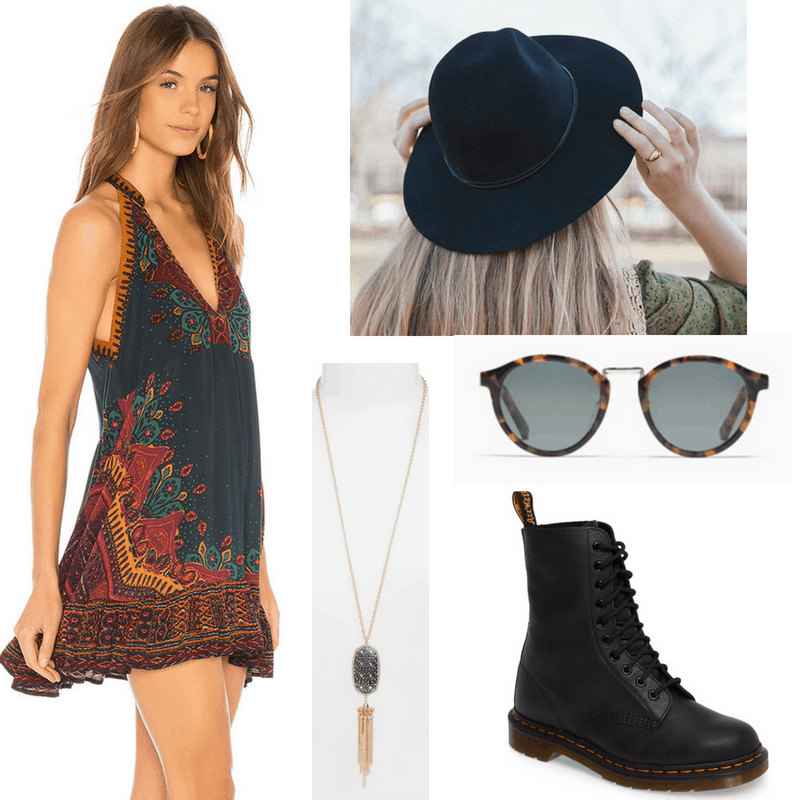 Music festival outfit idea with embroidered mini dress, felt hat in black, lariat fringe necklace, Doc Martens boots, sunglasses