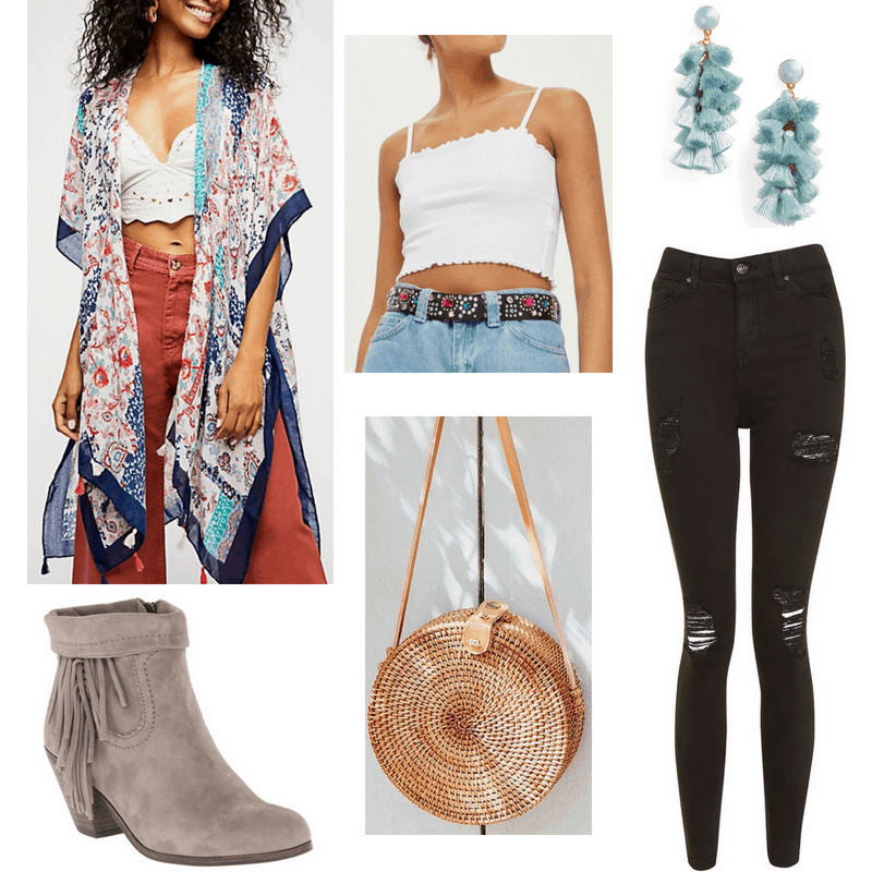 Music festival outfit 3: Kimono jacket, white crop top tank, ripped black jeans, desert boots in taupe suede, tan crossbody woven bag, fringe statement earrings