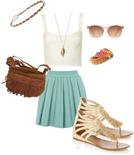 Style a bustier and skirt for a music festival with neutral sandals, a fringe bag, earthy jewelry and retro sunglasses