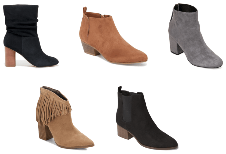 Black slouchy wooden high-heeled ankle boots, chestnut-brown heeled ankle boots with pull-tab, gray high-heeled ankle boots, beige fringed pointed-toe high-heeled ankle boots, black heeled Chelsea boots with pull-tab