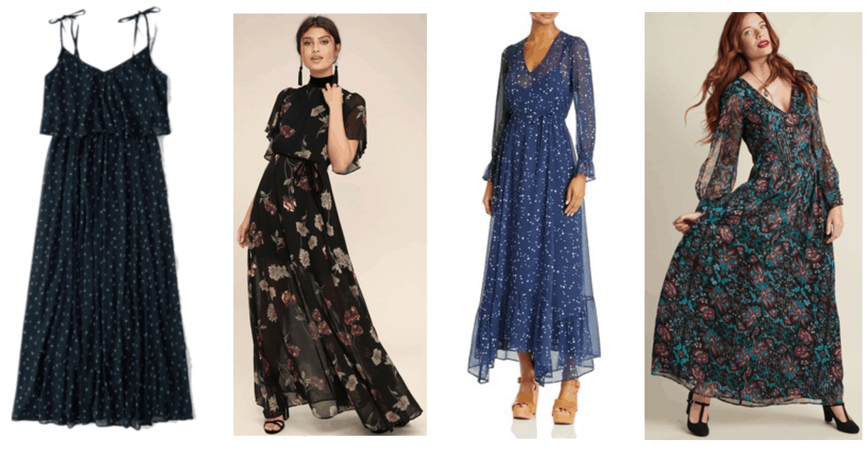 Boho chic style essentials: Navy blue spaghetti tie-strap maxi dress with ruffle and tiny blue-and-white floral print, black short-sleeved turtle-neck maxi dress with red, off-white, and green floral print and tie-waist; medium blue long-sleeved maxi dress with white constellation print and v-neck, black long-sleeved maxi dress with teal-green-and-red floral print and v-neck, pearl buttons on sleeves, and gold threads