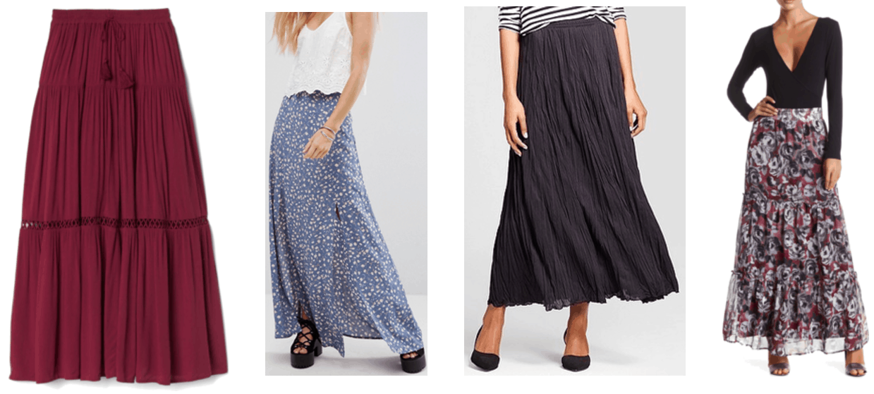 Maroon pleated and tiered maxi skirt with drawstrings at waist and embroidery detail, medium-blue maxi skirt with double slit and off-white-and-yellow floral print, black crinkled maxi skirt, burgundy tiered maxi skirt with black-and-light-gray floral print