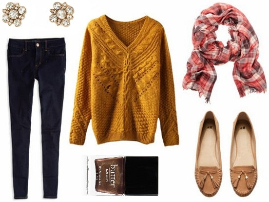 Mustard sweater jeggings plaid scarf look