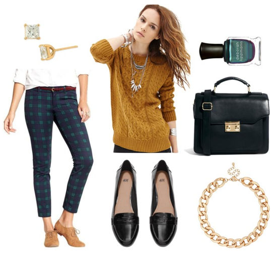 Mustard sweater plaid pants loafers