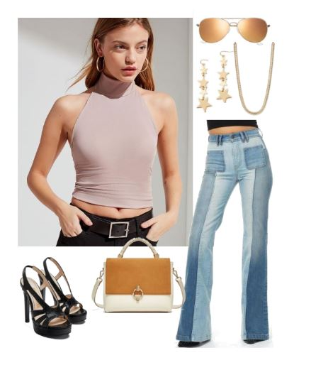 Look chic in retro 70's attire: Yellow Aviator Sunglasses; Turtle Neck Tank Top; Bell Bottom Jeans; Strappy Platform Sandals; Gold Chain, Gold Star Earrings