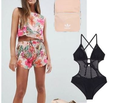 Two-piece mix & match sporty beachwear complete with pink aviator sunglasses, black lace swimsuit, classic Adidas pastel pink backpack, and metallic platform slide sandals. Perfect style for an outing at Myrtle Beach