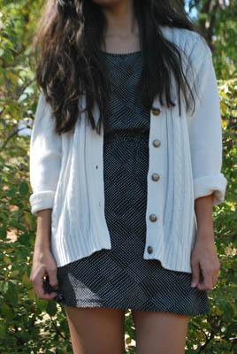 Nagi - White Knit Grandpa Sweater and Black Polka Dotted Dress