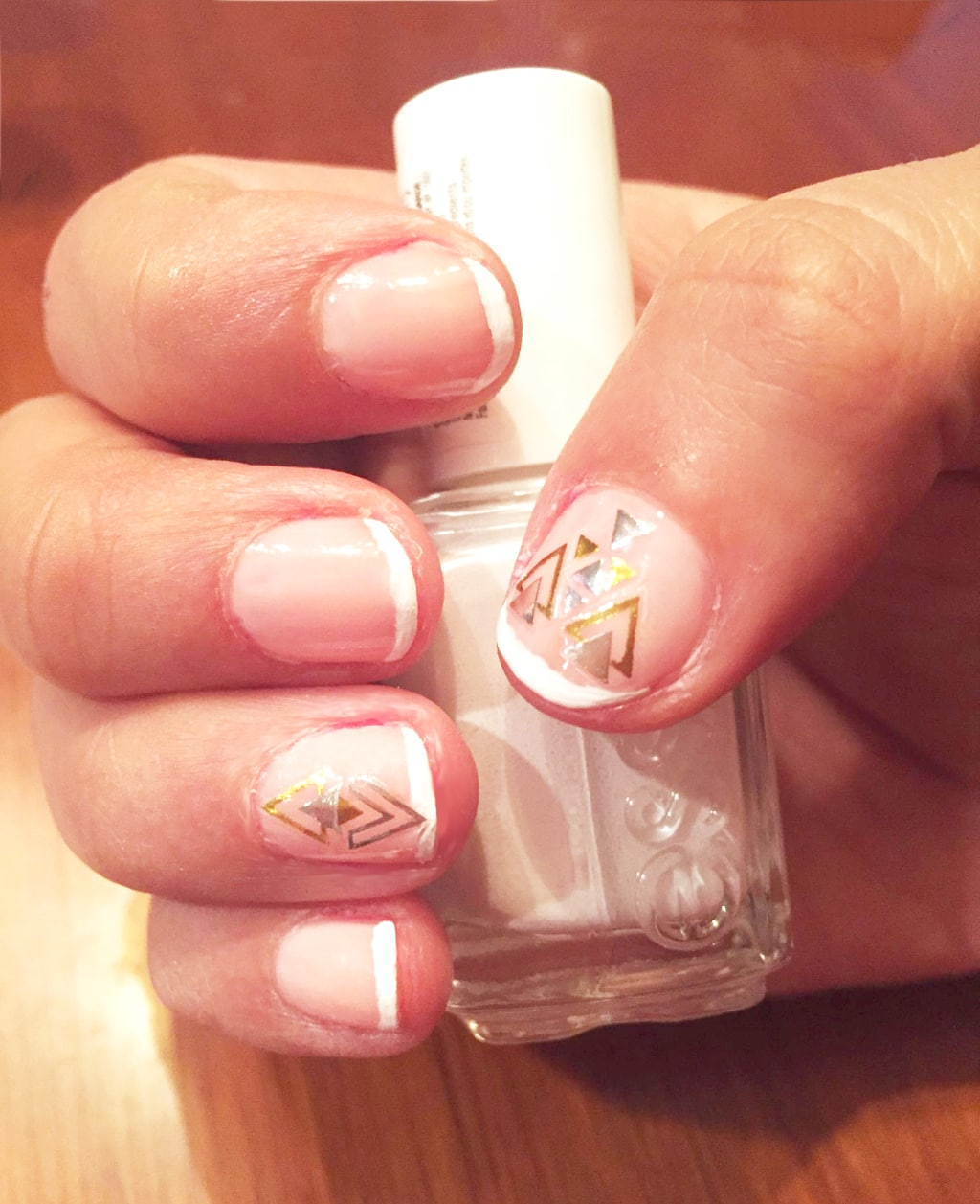Nail stickers on french nails