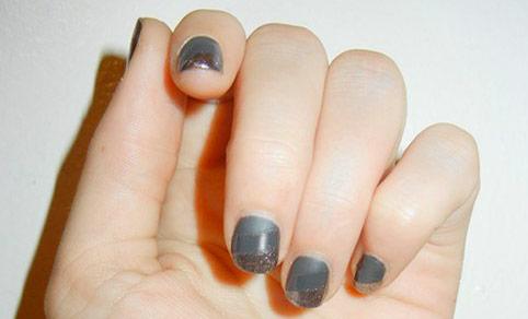 Nail polish finishes manicure - matte, cream, and metallic stripes