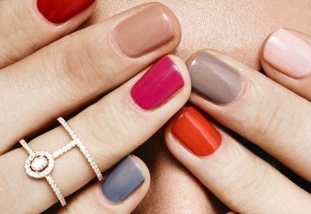 multi-colored nail polish